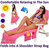 PMS - Lounger Mate Towelling Fabric Beach Bag - Assorted Colours Orange Pink Royal Blue