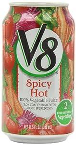 V8 100% Vegetable Juice, Spicy Hot, 11.5-Fl Oz Cans (Pack of 24)