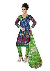 Divisha Fashion Blue and Green Cotton Printed Churiddar Suit with Dupatta