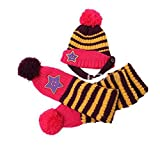 BuyHere Cute Unisex Baby Smile Star Knitting Unisex Baby Cap with ScarfPurple