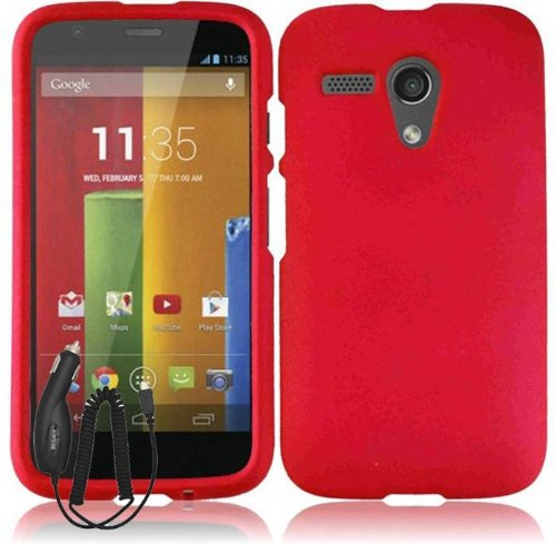 Motorola Moto G Solid Red Rubberized Cover Snap On Hard Case + Free Car Charger From [Accessory Arena]