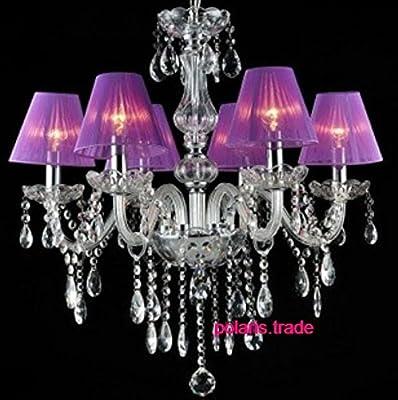 Modern Luxury Purple shade crystal chandelier elegant Ceiling lamp Pendant light ~ITEM #GH8 3H-J3/G8336996