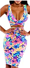 Womens Deep V Neck Flower Print Beach…