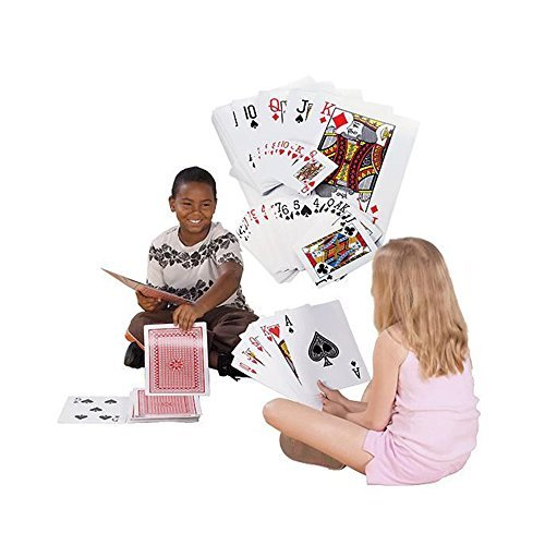 Super Z Outlet Giant Jumbo Deck of Big Playing Cards Fun Full Poker Game Set - Measures 8-1/4 x 11-3/4 (Color: Red, White, Tamaño: Large)