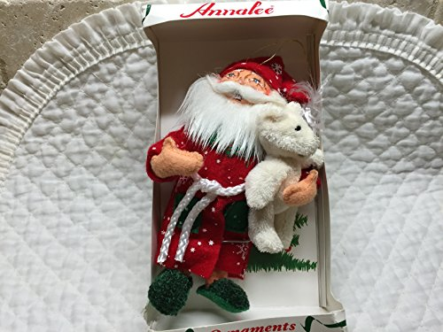 Annalee Ornaments Bedtime Santa w/ Teddy Bear 6″