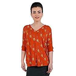 Funk For Hire Women Cotton Lycra knit Katputli printed pleated knit Top (Rust Orange, Size XL)
