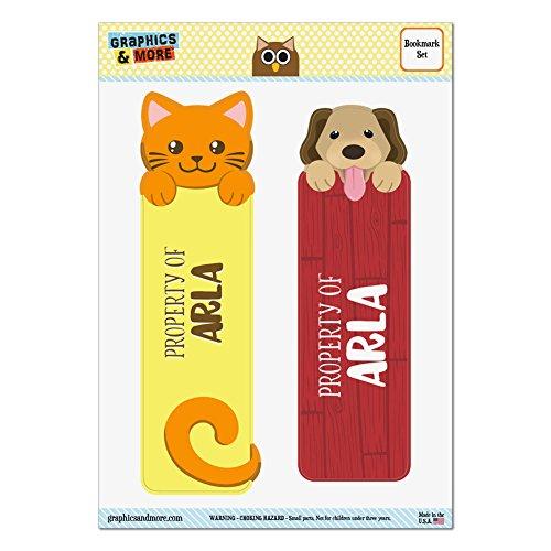set-of-2-glossy-laminated-cat-and-dog-bookmarks-names-female-ap-as-arla