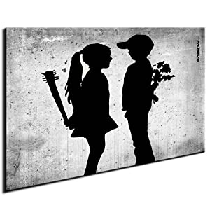 banksy bild auf leinwand wandbild bild fertig auf. Black Bedroom Furniture Sets. Home Design Ideas
