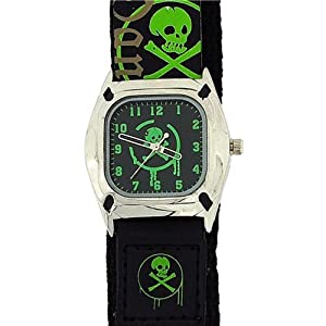 Reflex Quartz Skull and Crossbone Black Dial Boys Watch KID-0037B