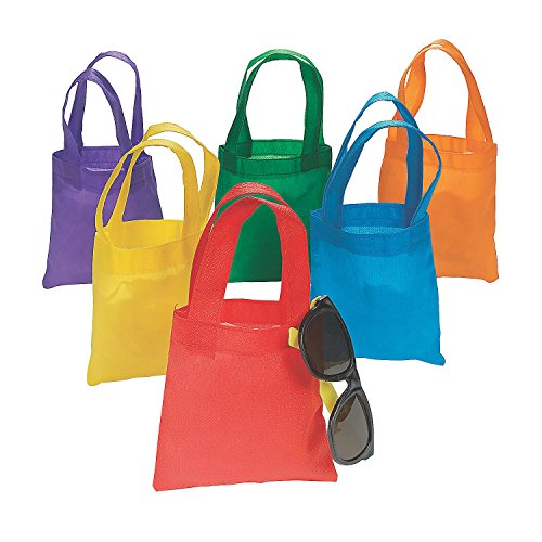"12 Poly Non-Woven Tote Bags 6"" Assorted Colors Party Bag"