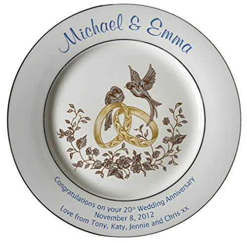 Personalized Bone China Commemorative Plate For A 20th Wedding Anniversary - Rings And Doves Design With 2 Silver bands
