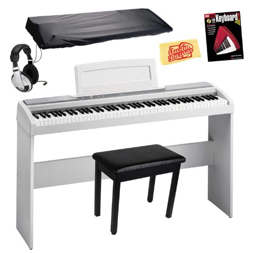 Korg Sp170S 88-Key Digital Piano Bundle With Furniture Style Stand, Flip-Top Bench, Dust Cover, Headphones, Instructional Book, And Polishing Cloth - White