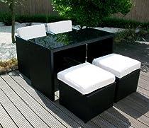 Rattan Sitzgruppe Gartenmöbel Tisch Sessel Hocker NT