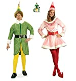Elf - Buddy & Jovi Adult Couple Costume Set With Wig New