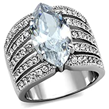 buy Marimor Jewelry Women'S Stainless Steel 316 Marquise Cut Zirconia Wide Band Engagement Ring