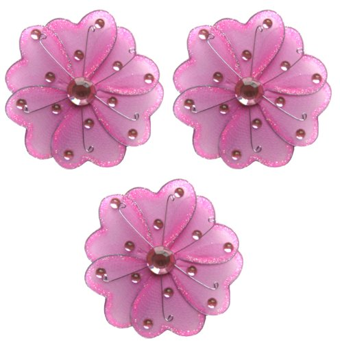 """Flower Decor 4"""" Dark Pink (Fuchsia) Mini (X-Small) Wire Hanging Flowers Daisy Daisies 3Pc Set. Decorate Baby Nursery Bedroom, Girls Room Ceiling Wall Decor, Wedding Birthday Party, Bridal Baby Shower. Decoration Crafts, Scrapbooks, Invitations, Parties front-965924"""