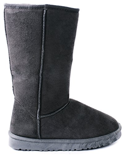 JJF Shoes House Grey Faux Suede/Fur Lined Mid Calf Shearling Winter Snow Boots-5