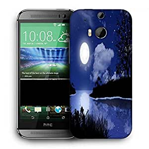Snoogg Moon Night Printed Protective Phone Back Case Cover For HTC One M8