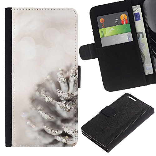 Stuss Case / Custodia In PU Pelle - White Acorn Glitter Snow Christmas - Apple Iphone 6 PLUS 5.5