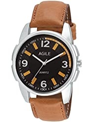 Agile Analog Black Dial Brown Leather Strap Wrist Watch For - Men, Boys