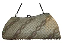 D8026 white Fully Handmade Beaded Evening handbag/purse wedding bag