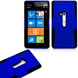 myLife (TM) Blue and Dark Matte Black Perforated Mesh Series (2 Layer Neo Hybrid) Slim Armor Case for the Nokia Lumia 920 920.2 920T and 920 4G Camera Smartphone by Microsoft (External Rubberized Hard Shell Mesh Piece + Internal Soft Silicone Flexible Gel)