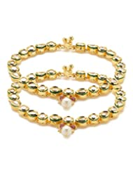 Voylla Pair Of Gold Plated Round Anklets Adorned With CZ, Pearl And Pink Color Beads