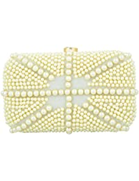 Tooba Handicraft Women's Clutch (white Pearl Flag 6x4, White)