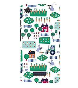 KIDDISH PATTERN OF HUTS AND TRUCKS IN A WHITE BACKGROUND 3D Hard Polycarbonate Designer Back Case Cover for MIcromax Canvas Unite 3 Q372