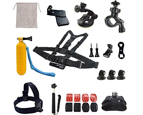 ADIKA® 22 Pcs Starter for Gopro Accessories Kit Bundle Includes for Gopro Suction Cup Mount + for Gopro Selfie Stick + for Gopro Roll Bar Mount + for Gopro head strap mount + for Gopro Chest Mount