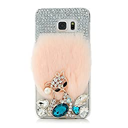 Samsung Galaxy S7 Edge Case, Sense-TE Luxurious Crystal 3D Handmade Sparkle Diamond Rhinestone Clear Cover with Retro Bowknot Anti Dust Plug - Fox Luxury Villus / Pink