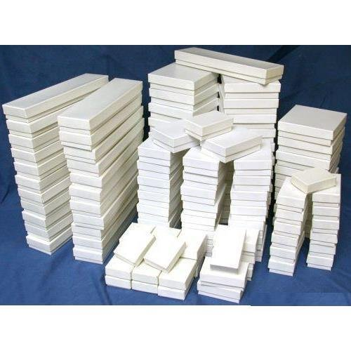 100 White Gloss Jewelry Display Cotton Filled