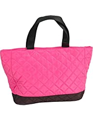 Threadart Small Quilted Tote Bag Hot Pink/Black