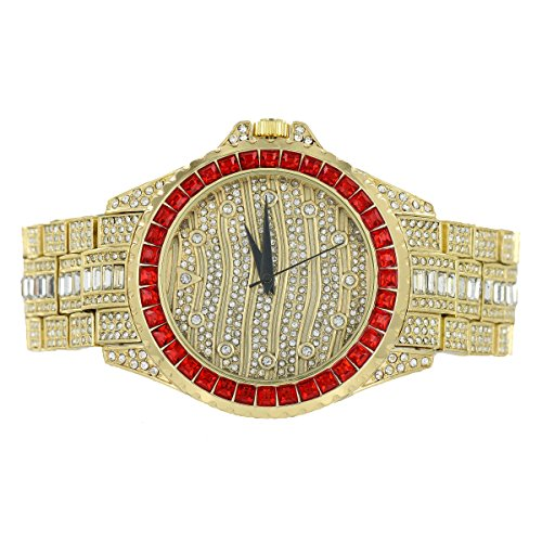 Gold Finish Jojo Watch Joe Rodeo Jojino Style Simulated Diamonds Fully Iced Out (Fully Iced Out compare prices)