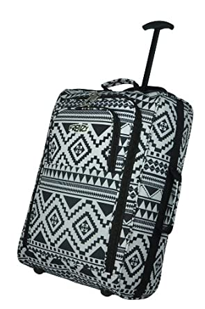 Frenzy® / Cities® Lightweight Hand Luggage Travel Holdall Baggage Wheely Suitcase Cabin Approved Bag Ryanair Easyjet And Many More - 1.6k - 40 Litres - PADLOCK INCLUDED (Aztec Black/White)