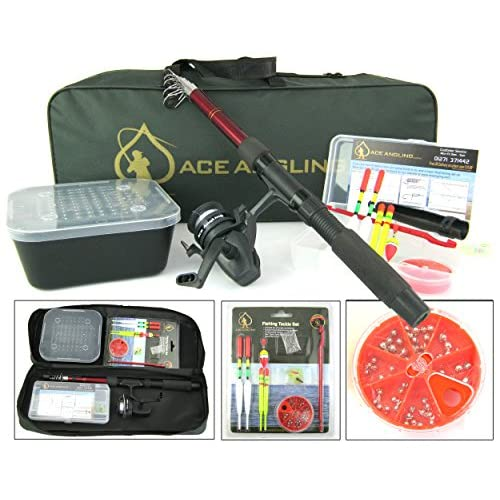 Ace Angling™ Junior Beginners Kids Novice Fishing Rod Reel Kit Set