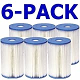 Full Case of 6 - Intex Brand Type B Pool Filter Cartridges - For Intex 2000, 2500, 3000 3500 & 4000 GPH Filter Pumps - Made in China