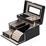 Songmics Black Leather Jewelry Box Lockable Makeup Storage Case with Mirror UJBC114