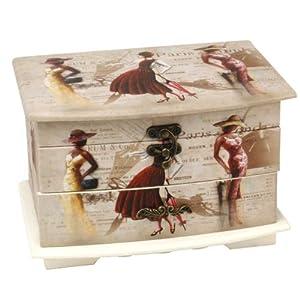 Parisian Ladies Jewellery Box Shabby Chic Lid & Drawer