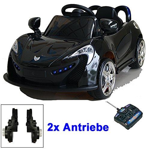 #Roadster mit 2x Motoren mp3 LED Elektro Kinderauto Kinder Auto Elektroauto Elektrofahrzeug (schwarz)#