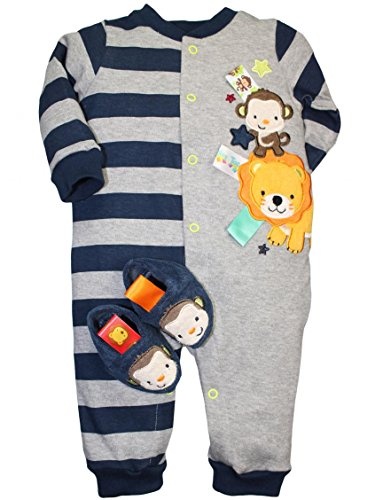 Taggies Baby Boy Monkey And Lion One Piece Coverall Romper And Slipper Set By Taggies - Navy - 6 Mths / 12-16 Lbs front-211260