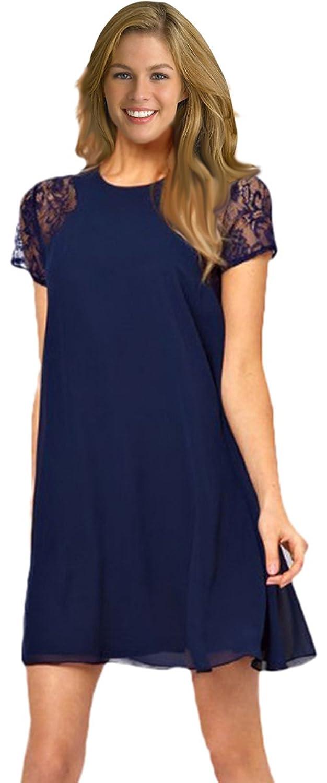 Chiffon Dress Short Sleeve Lace Insert Loose One-piece Shift Dress high quality 100% natural pure sweet honey bee honey