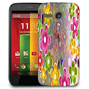 Snoogg Multicolored Daisies And Butterflies 2662 Designer Protective Phone Back Case Cover For Motorola G / Moto G