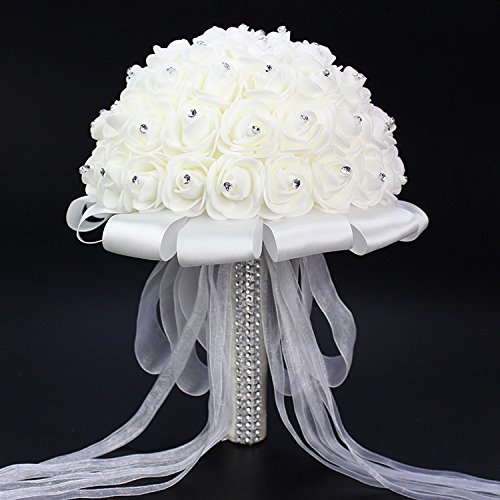 Romantic Wedding Bride Holding Bouquet Roses with Crystal Diamond Ribbon Artificial Foam Flower Bouquet (White)