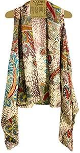 Amazon.com: Accents by Lavello Sheer Designer Vest, Ivory/Grey