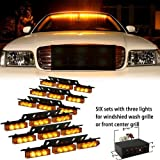 Amber yellow 54 X Ultra Bright LED Emergency Warning Use Flashing Strobe Lights Bar for Windshield Dash Grille