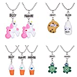 4 Sets 9 Best Friends Necklace Pendant Necklaces for Kids Boys Girls Friendship with Milk,Biscuit,Ice Cream,Doughnuts (style 1)