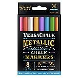 Metallic Liquid Chalk Markers by VersaChalk - 8 Wet Erase Chalkboard Pens for Blackboard, Dry Erase White Board, LED Message Board - 3mm Fine Tip (Color: Metallic, Tamaño: Fine 3mm)
