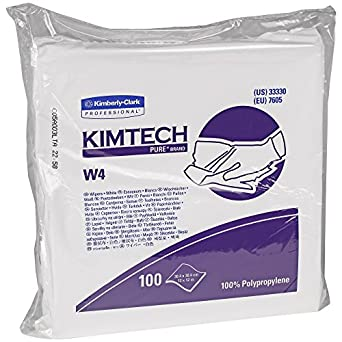 Kimtech Pure W4 Critical Task Wipers (33330), Anti-Stat, Double Bag, White Disposable Wipes, 5 Packs of 100 Wipes / Case (500 per case)