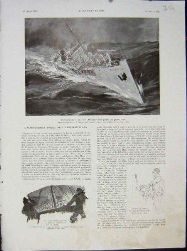 impresion-del-vintage-del-frances-marino-1932-del-viaje-de-la-nave-de-aeropostale